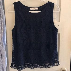 Loft Sleeveless Navy Lace Top